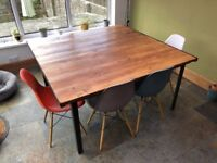 Industrial style dining table - 5 x 5 foot -