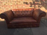 Vintage chesterfield style brown leather sofa