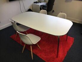 Large White Table chrome legs