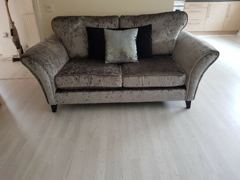 Grey Crushed Velvet Sofa In Bishopbriggs Glasgow Gumtree
