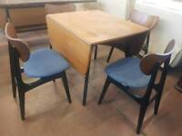 G-plan dropleaf dining table and four chairs