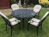 Cast Aluminium garden table 4 chairs, parasol stand and cushions
