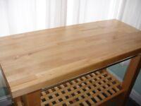 Freestanding IKEA Solid Birch Wood Kitchen Island Butchers Block Storage Unit