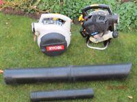 Two Petrol Ryobi Leaf Blowers with attachments.