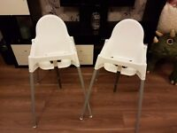 2 x Highchairs Used Once £15