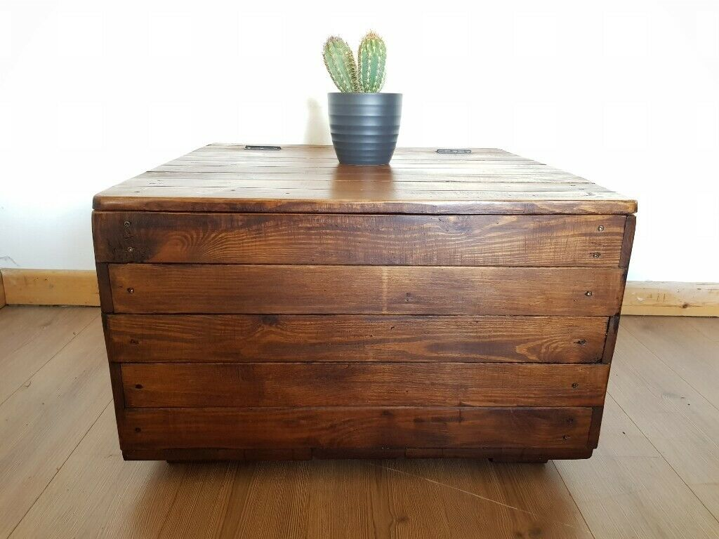 Rustic Reclaimed Wood Square Storage Coffee Table Chest Trunk New Handcrafted Free Local Delivery In Hammersmith London Gumtree
