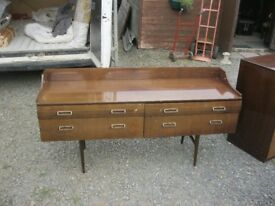 VINTAGE / RETRO HIGH GLOSS SIDEBOARD. 4 DRAWERS. SHAPED LEGS. VIEWING / DELIVERY AVAILABLE