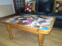 Large chunky funky solid wood coffee table