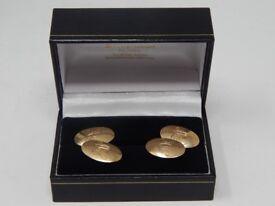 9ct Solid Gold Hallmarked Cufflinks by Deakin & Francis c.1910: Weight 8.4g