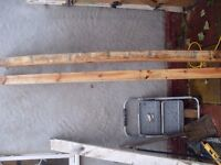 2 STURDY WOODEN FENCE POSTS / LINTELS 3.5 INCHES sq X 7.5 ft £15 for both