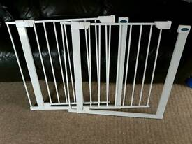 Safety stair gates with extention bars