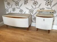 CLASSIC 1960'S STYLE LINEN/BLANKET BOX AND MATCHING BEDSIDE CUPBOARD