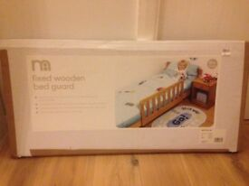 Mothercare fixed wooden bed guard, new in box and never used