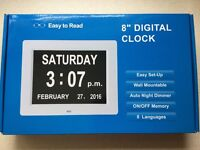 8 inch DIGITAL CALENDAR DAY CLOCK (BOXED - BLACK) - EASY TO READ (plus bonus plug adaptor)
