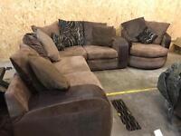 Fabric corner sofa and love chair