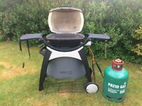 Webber Portable Gas BBQ wrought irongriddle including cooking untensils and Webber waterproof cover
