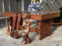 Original Hand Carved Traditional Mayan Wood Coffee Table from Belize.