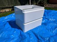 White double drawer basin unit (wall hung)