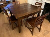 Lombok dining table (110cmx110cm) and 4 chairs