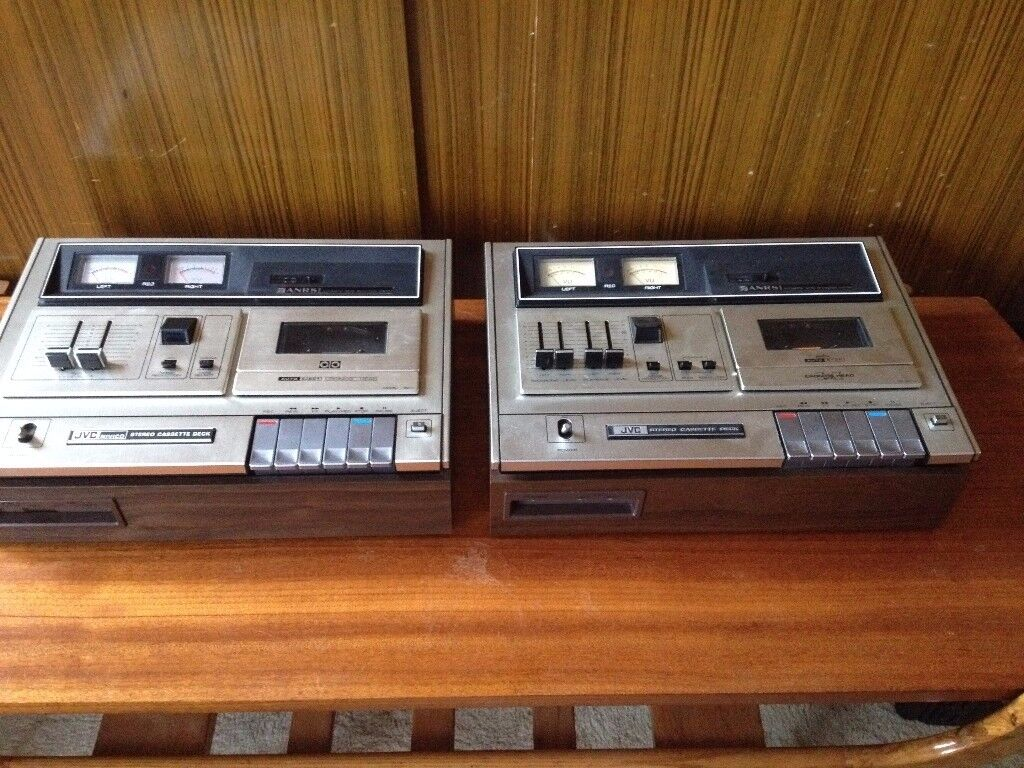 Two JVC Vintage stereo cassette tape decks (all working)