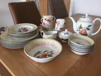 Country Style Dinner Set, Vintage. Display Only, Never Used.