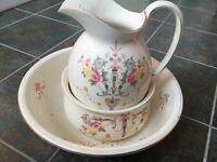 Large jug, bowl and potty