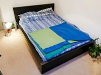 Double Bed Frame - Wooden, Black and Sturdy