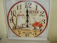 NEW COFFEE POT, CUP AND SAUCER 47 CM CLOCK CREAM AND CRIMSON ,WOODEN / M.D.F. BATTERY OPERATED
