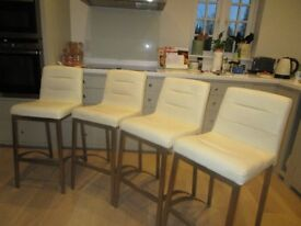 4 cream stella brushed steel bar stools- top condition