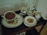 Midwinter Tea service, Teapot, jug, sugar bowl, cups,saucers, plates, server platter.