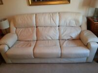 3 Seater Cream Leather G-Plan Sofa and 2 Arm Chairs