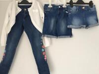 Age 6-7: Girls' Denim shorts, jeans and white cardigan