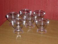 6 CLEAR TRANSPARENT GLASS EGGS CUPS