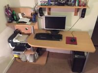 Computer desk with multi layer storage / printer section / great condition