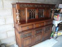 Buffet Cabinet with 3 drawers and 3 doors with shelf, glazed drinks compartment with touch lighting