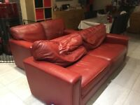 Red leather sofas 3x2