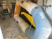 Inflatable dinghy achillies 3 metre with 4 air chambers wooden transom and in flatable keel vgc