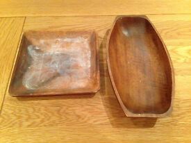 Set of two wooden trays