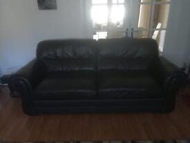 3 2 1 Black Leather Sofa
