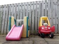 Children's Outdoor toys, little tikes car and climber.