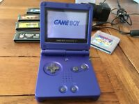 Nintendo Game Boy Advance SP with games