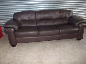 Large Brown Full Leather 3+2-seater Suite