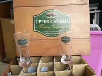 Upper Canada glasses and wooden crate