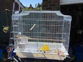 Large white bird cage
