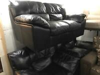 As new full black leather 211 sofa set