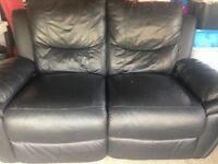 3 and 2 seater black leather electric reclining sofas £400 ono