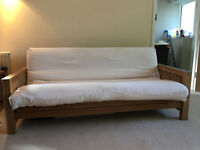 Fantastic 3 seat solid oak futon by Futon Company, clean Deluxe mattress, vgc