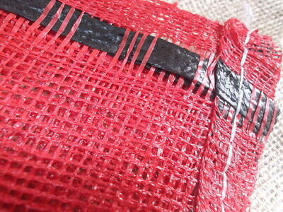 25x Yuzet 52cm x 85cm Red Close Weave Net Sack Kindling Log Vegetable bag