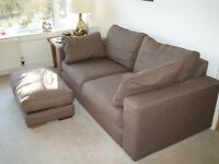 Sofa (3 seat) and foot stool, brown, John Lewis, excellent condition, buyer collects