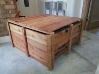 Coffee table, Industrial table, Reclaimed wood coffee table, Wooden crate table